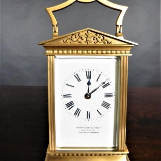 Gilt French Carriage Clock signed 'Mappin & Webb'.