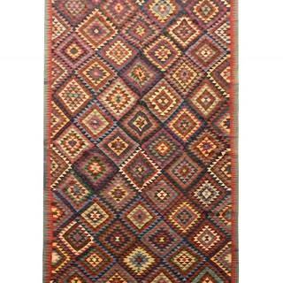Handwoven Wool Antique Persian Kilim Rug- 152x340cm