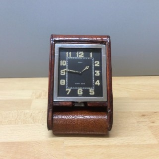 Art Deco Travel clock by Le Coultre and signed Asprey