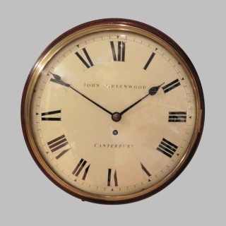 Regency Mahogany Round Dial Wall Clock by John Greenwood, Canterbury