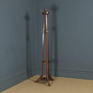Antique George V Oak & Brass Arts & Crafts Revolving Coat, Hat, Stick & Umbrella Hall Stand (Circa 1920)