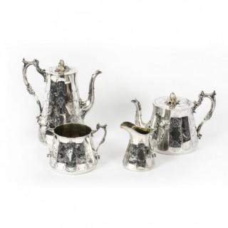 Antique 4 Piece Tea Coffee Service by Elkington 19th Century
