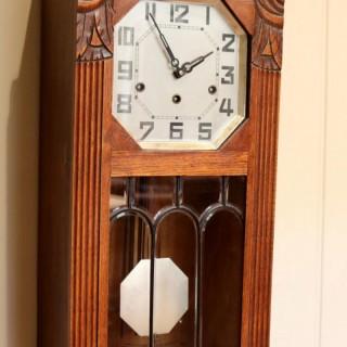 French Oak Art Deco Wall Clock