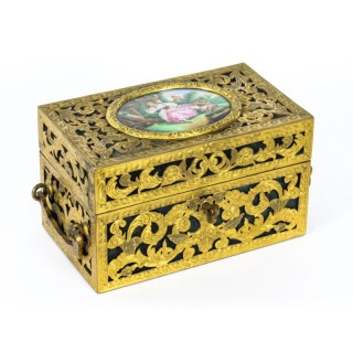 Antique Pierced Brass Palais Royal Porcelain Mounted Casket 19th C