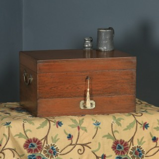 Antique Anglo-Indian Victorian Colonial Campaign Teak & Brass Writing Box / Storage Chest (Circa 1880)