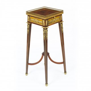 Antique French Parquetry Ormolu Mounted Stand Att François Linke 19th Century