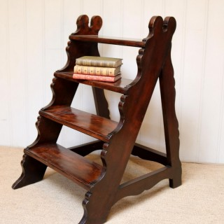 Late 19th Century Walnut Library Steps
