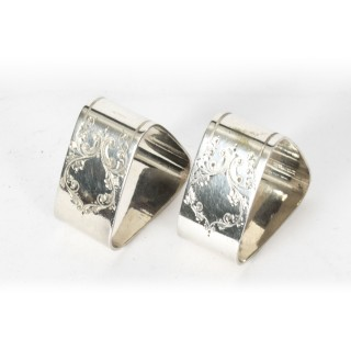 Antique Pair Victorian Cased Silver Plated Napkin Rings Circa 1880