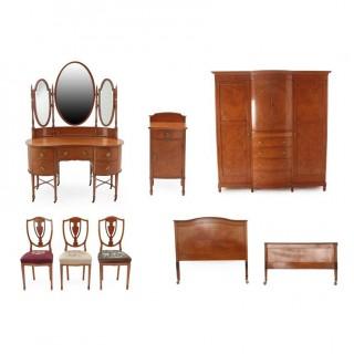 Antique Seven Piece Satinwood Bedroom Suite C1880 19th C