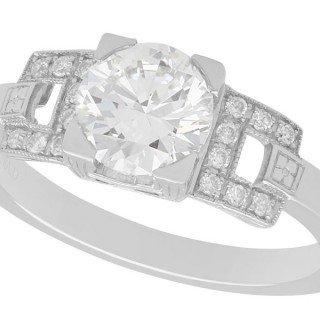 1.22 ct Diamond and Platinum Solitaire Ring - Vintage Circa 1950 and Contemporary