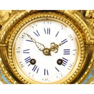 Antique French Gilt Bronze Clock with Portrait Plaque of Molière c.1860