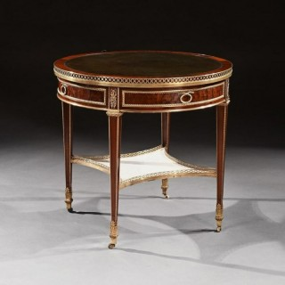 Exceptional Gervais Durand 19th Century Mahogany And Gilt Bronze Gueridon Bouillotte Table