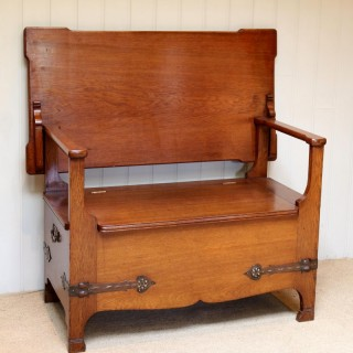 Arts And Crafts Solid Oak Monks Bench