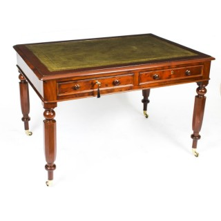 Antique 4ft William IV Four Drawer Partners Writing Table Desk C 1830