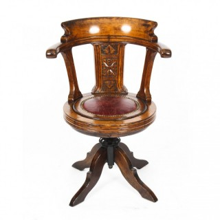 Antique Victorian oak swivel ships / captains cockpit desk chair 19th C