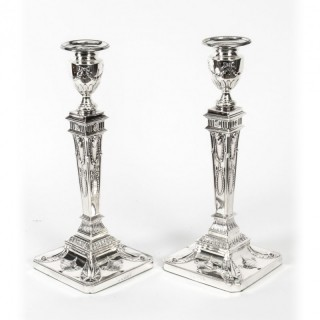 Antique Pair Silver Plated Neo Classical Candlesticks Circa 1900