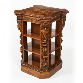 Antique Burr Walnut Freestanding Library Bookcase After Gillows Early 19th C