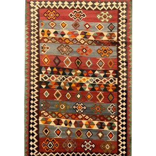 Persian Qashqai Wool Antique Rug- 112x203cm