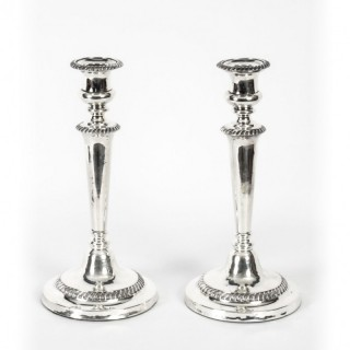 Antique Pair Old SheffieldSilver Plated Candlesticks Early 19th C