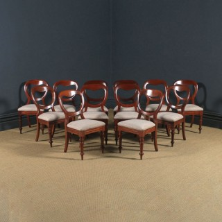 Antique English Victorian Set of 12 Twelve Mahogany Balloon Back Dining Chairs (Circa 1860)