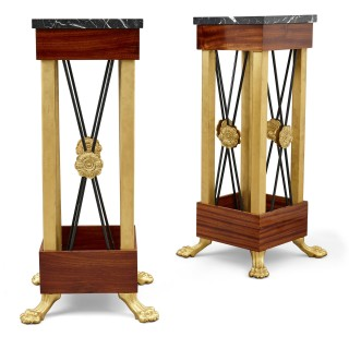 Two Neoclassical Empire Style Bronze and Marble Pedestals