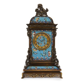 Antique French Japonisme Mantel Clock with Floral Champlevé Enamel