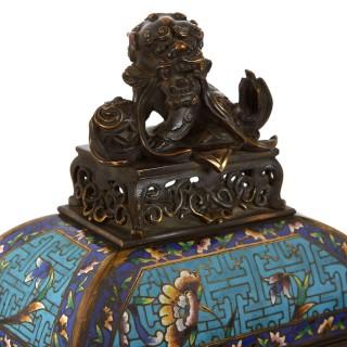 Antique French Japonisme Mantel Clock with Floral Champlevé Enamel