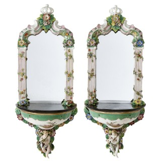 Two Antique Rococo Style Porcelain Mirrored Wall Brackets