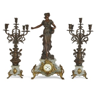 Antique Belle Époque Sculptural Three-Piece Clock Set after Auguste Moreau