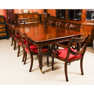 Antique Regency Flame Mahogany Dining Table C1820 & 10 chairs