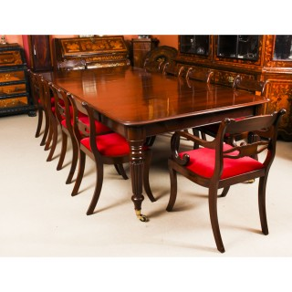 Antique Regency Flame Mahogany Dining Table & 10 Regency chairs 19th C