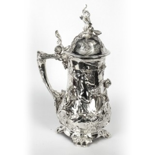 Antique Large Silver Plated Beer Stein Art Nouveau Circa 1920