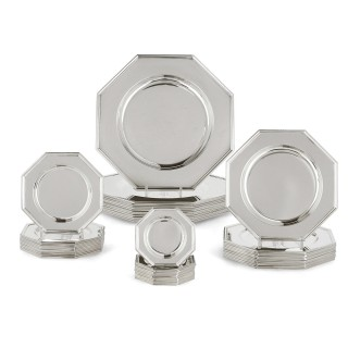 Modernist Octagonal Set of Paduan Silver Plates by Zaramella & Sons