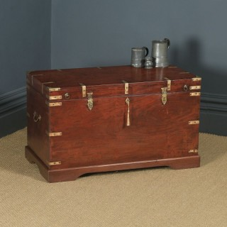 Large Antique Victorian Anglo Indian Colonial Campaign Teak & Brass Chest / Trunk (Circa 1870)