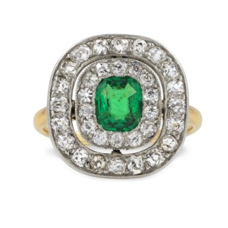 An Emerald and Diamond Double-cluster Ring, Circa 1900