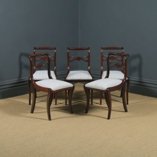Antique English Georgian Regency Set of Five 5 Mahogany Rope Twist Dining Chairs (Circa 1820)