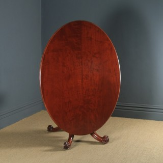 Antique English Victorian Mahogany Tilt Top Oval Dining Breakfast Loo Centre Table (Circa 1860)
