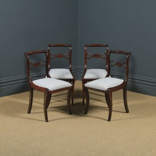 Antique English Georgian Regency Set of Four 4 Mahogany Rope Twist Dining Chairs (Circa 1820)