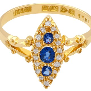 0.42 ct Sapphire and 0.40 ct Diamond, 18 ct Yellow Gold Dress Ring - Antique 1901