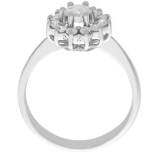 0.78 ct Diamond and 18 ct White Gold Dress Ring - Vintage Circa 1940