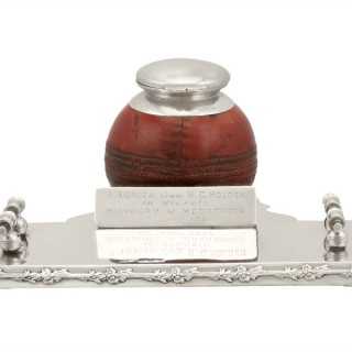 Sterling Silver Cricket Inkwell - Antique Edwardian