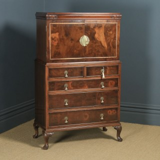 Antique English Queen Anne Style Figured Walnut Tallboy Linen Press Chest of Drawers by Waring & Gillow (Circa 1930)