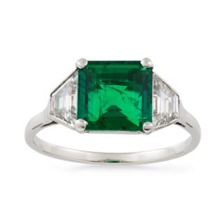 A Vintage Emerald and Diamond Ring, Colombian Origin, Circa 1950