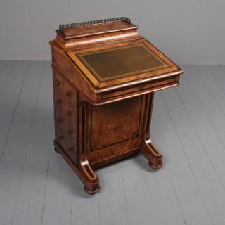 Victorian Inlaid Burr Walnut Davenport by Johnson & Appleyard