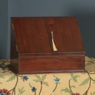 Antique Anglo-Indian Victorian Campaign Teak Waterfall Stationery Writing Box / Letter Rack (Circa 1880)