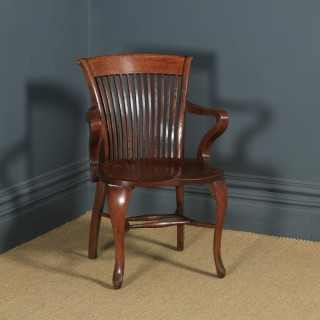 Antique English Edwardian Oak Office Desk Arm Chair (Circa 1910)