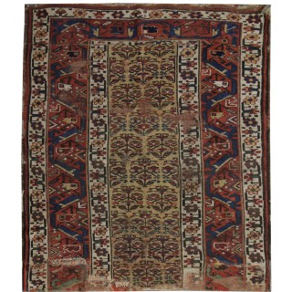 Handmade Caucasian Antique Shirvan Rug, Traditional Wool Carpet- 114x135cm