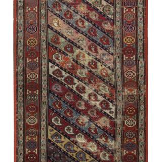 Handmade Caucasian Ganjeh Carpet, Traditional Antique Wool Rug- 119x250cm