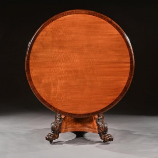 Rare 19th Century Peters Of Genoa Satinwood & Rosewood Centre Table.