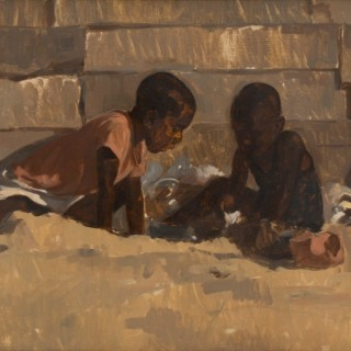 'Kids playing in the sand' by Neale Worley RP NEAC (born 1962)